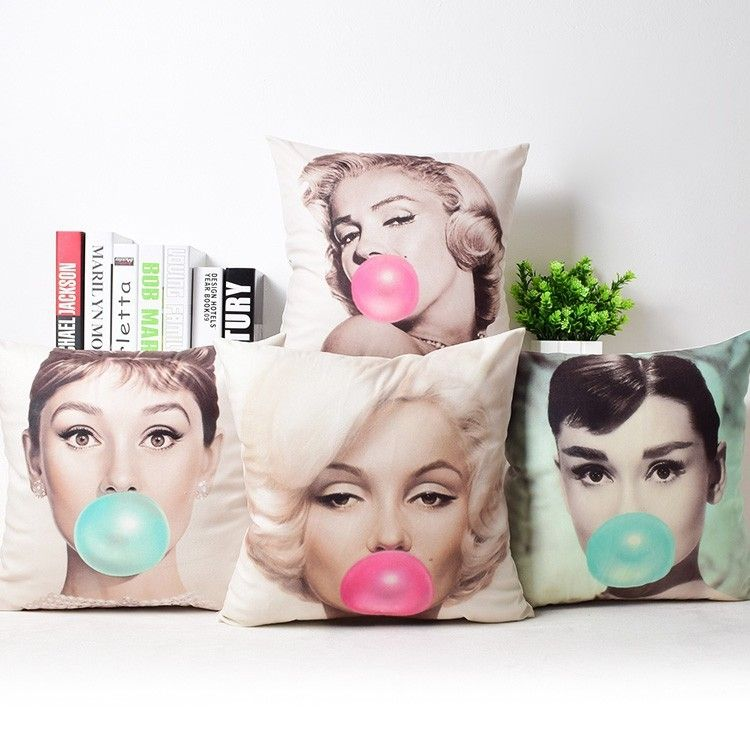 Bubble Gum Retro 45cm Gift UK New MARILYN MONROE AUDREY HEPBURN Cushion Covers