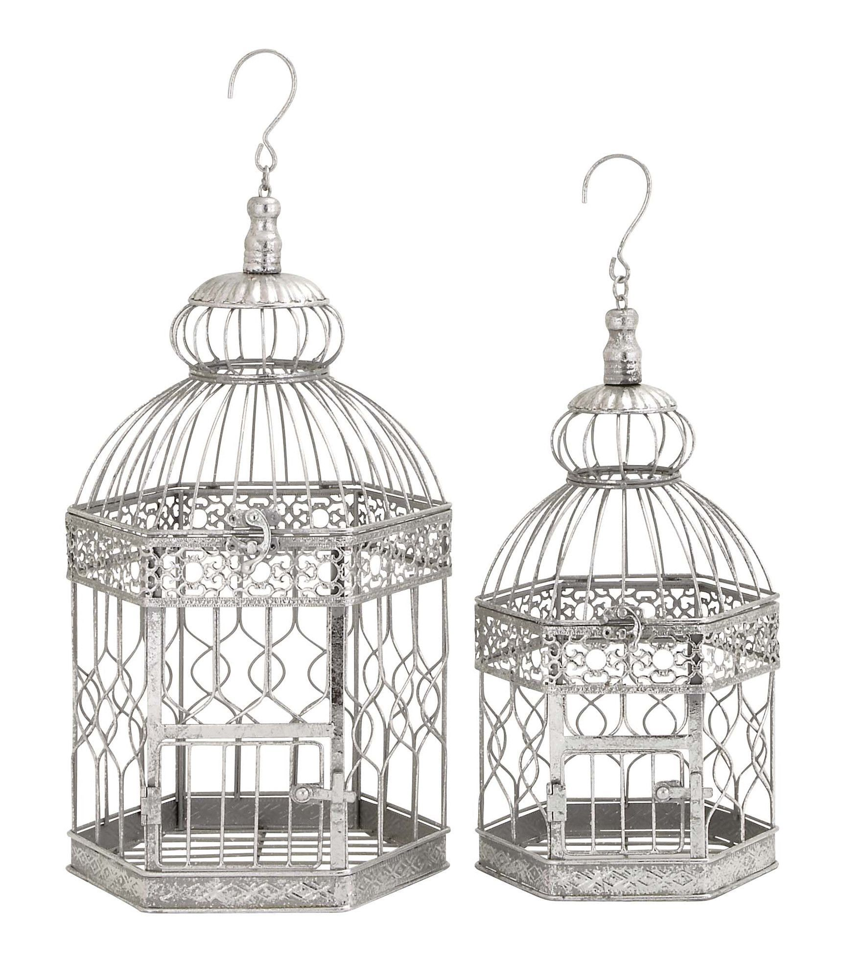 Decorative 2 Piece Hexagonal Bird Cage Set