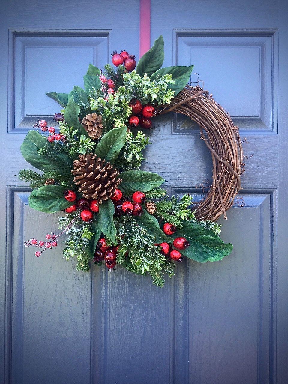 Pinecone Wreaths Winter Door Green Por Wreathsbyrebeccab