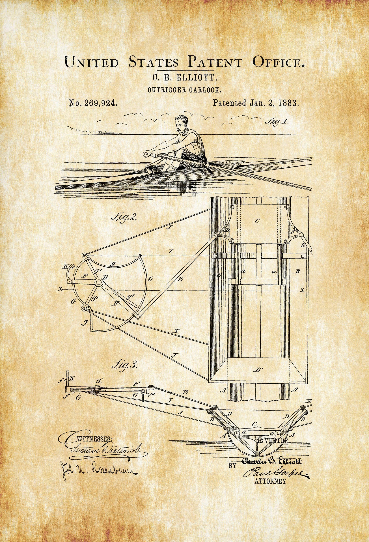 Outrigger Oarlock Patent – Vintage Boat, Boat Decor. Boat Blueprint ...