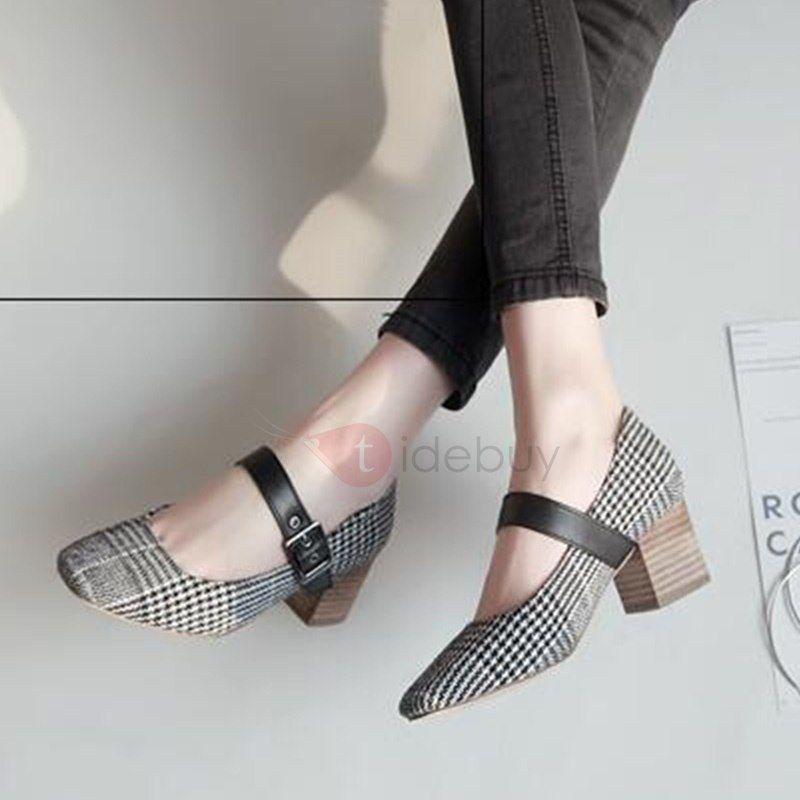 Tacones altos de Mujer 2018 con Agujero Punta a Cuadros Zapatos de Mujer con el Tacon Pumps pqBp64n