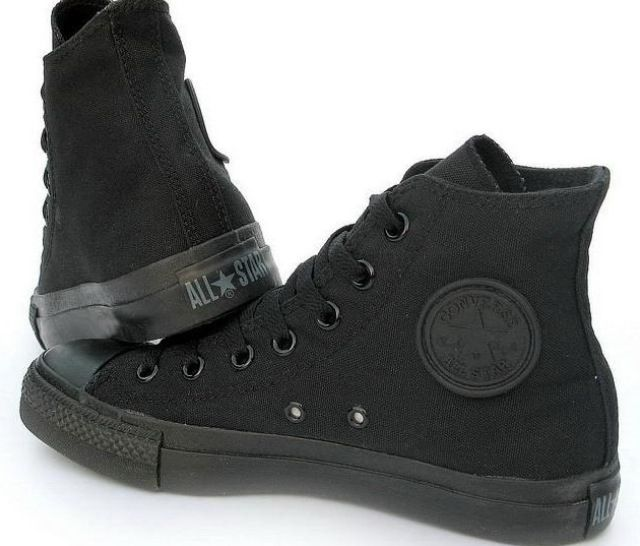 All black high top converse. I wear