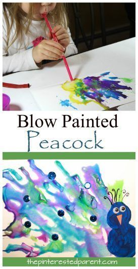 Straw Blown Peacock Painting - fun kidu0027s arts and crafts projects - artistic skills