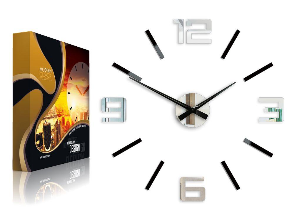 Zegar Scienny Silver Xl 60cm Kolory Nowoczesny Clock Wall Clock Modern