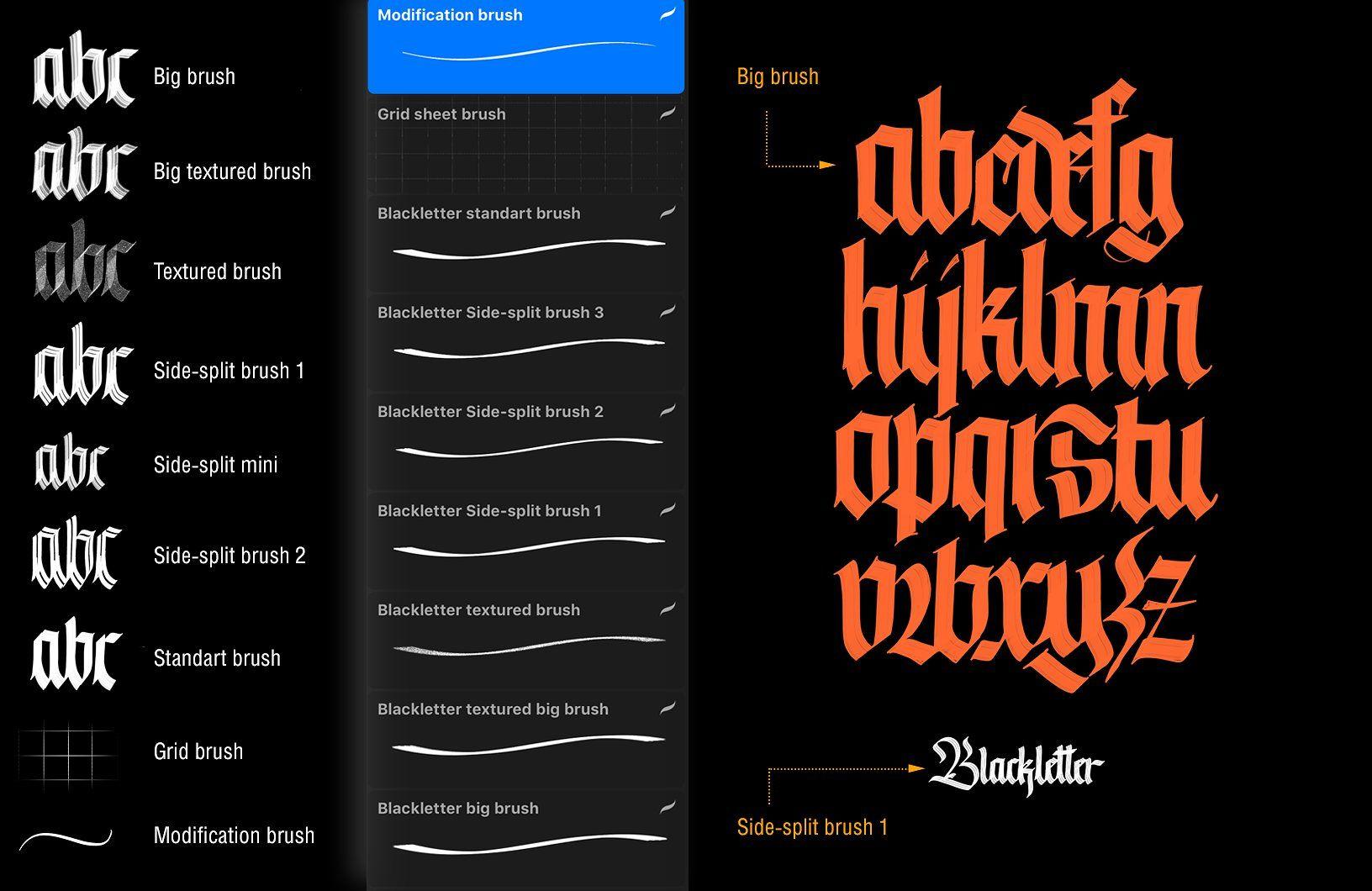 Download Blackletter Brush Pack for Procreate | Creative words ...