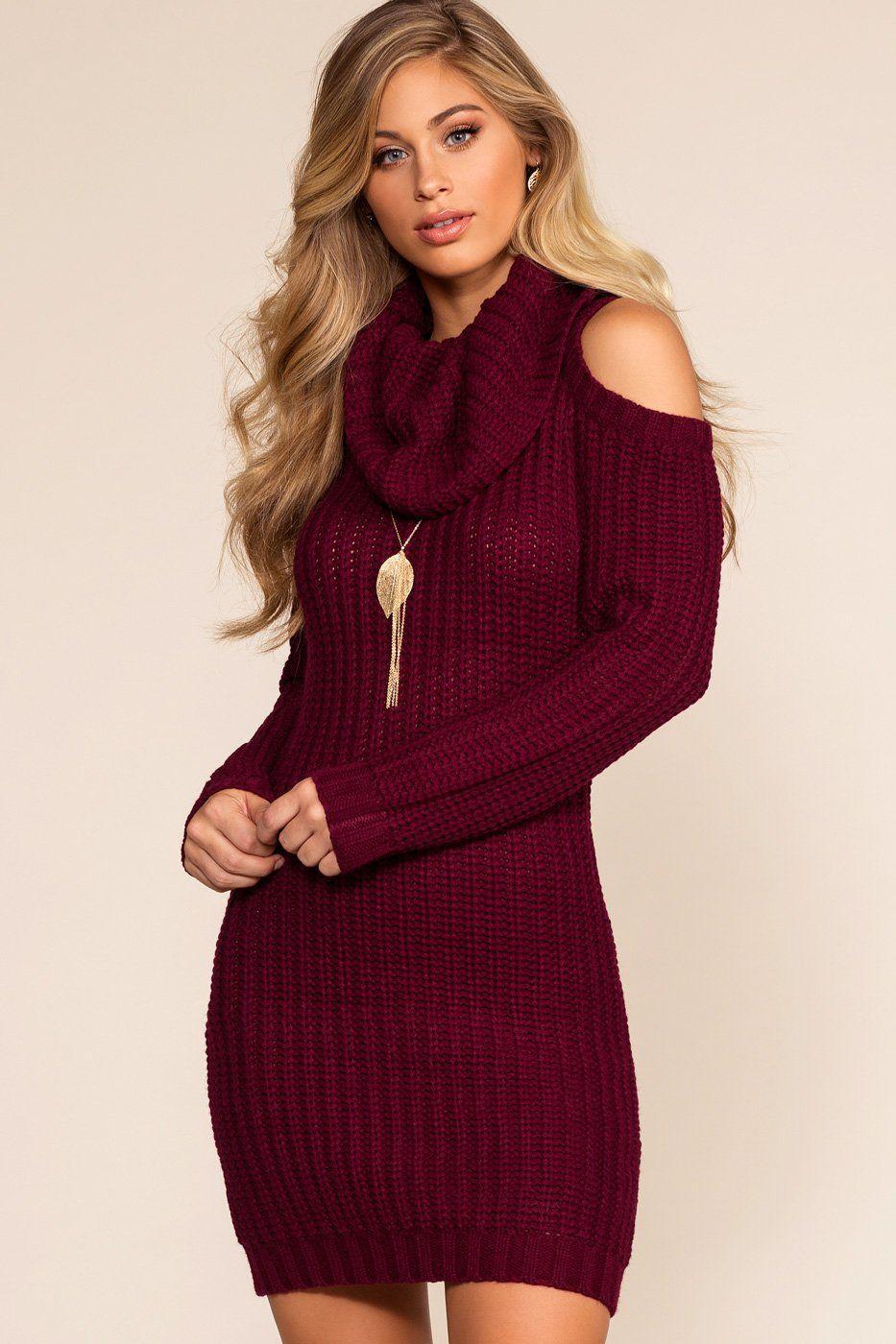 Dion cold shoulder sweater dress burgundy cold