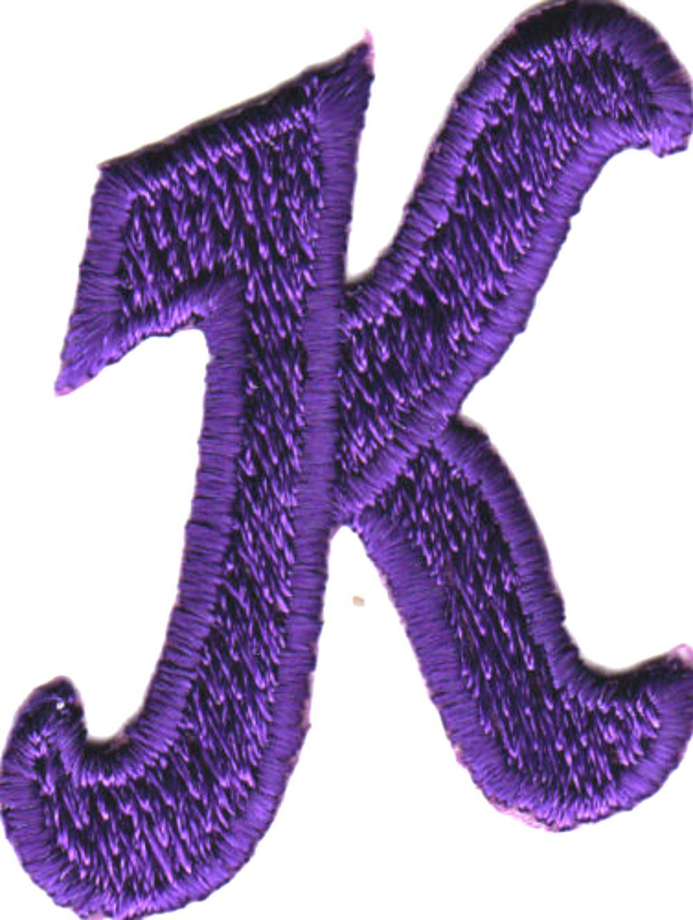 [Single Count] Custom and Unique by 1 Inches) American Alphabet Monogram  Letters Cool Script Bold Letter K Iron On Embroidered Applique Patch  {Purple Color}
