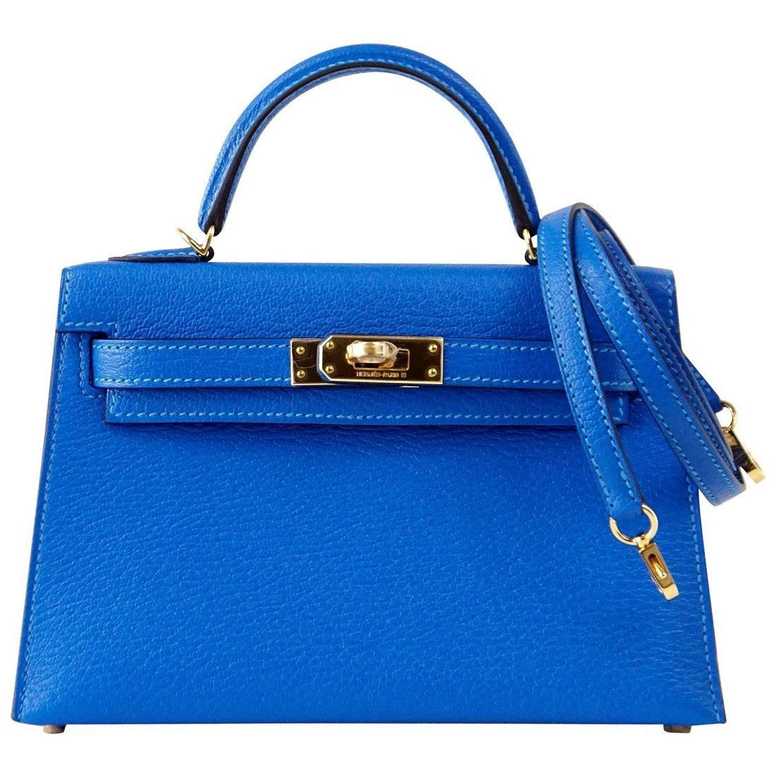 a58110196986 The talk about town HERMES Limited Edition Kelly Mini 20 ll in coveted  Chevre. Jewel toned Blue Hydra is exotic with gold hardware.
