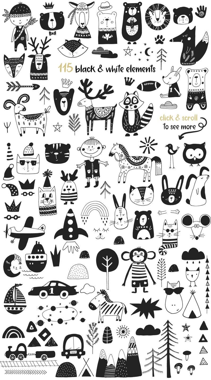 Scandinavian For Boy Cute Animals Kids Clip Art And Lettering Etsy Boy Illustration Kids Clipart Doodle Art