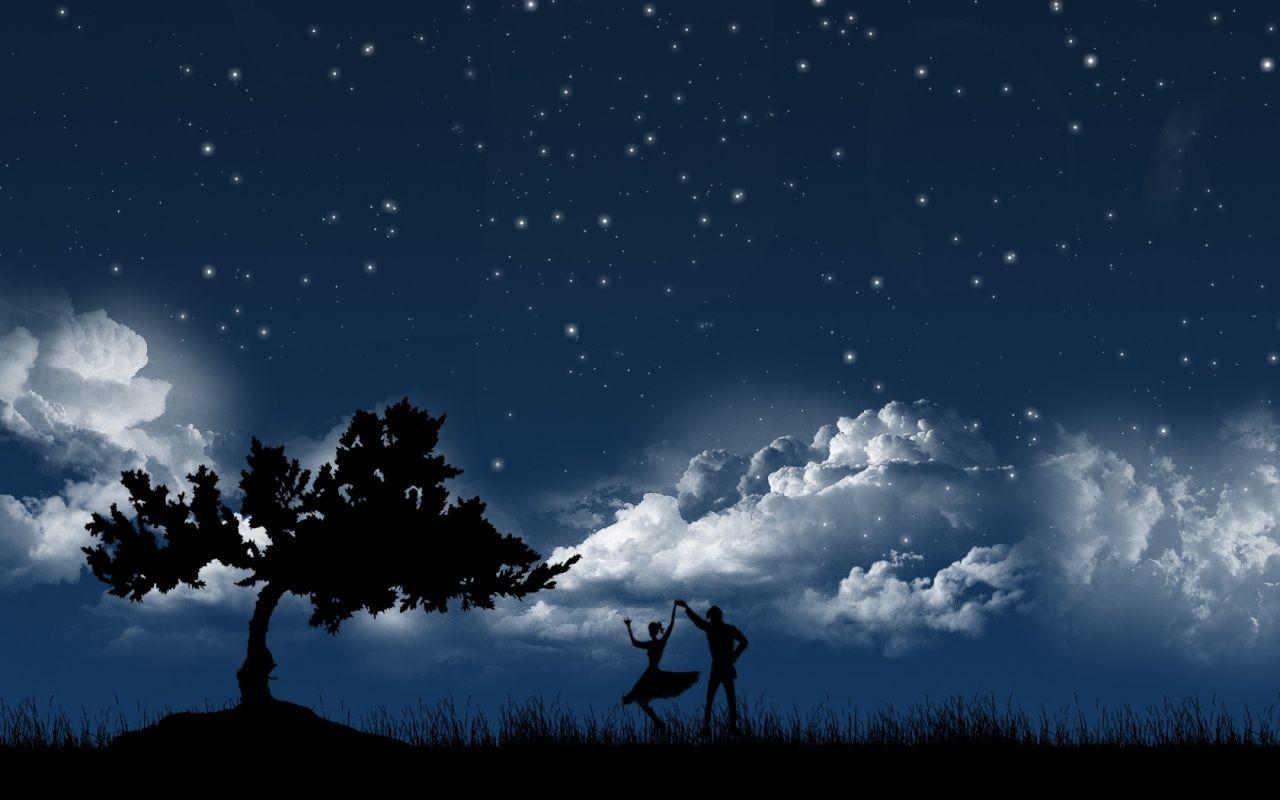 Couple In Moonlight Images Romantiques Fond D Ecran Bonne Nuit Ciel Nocturne