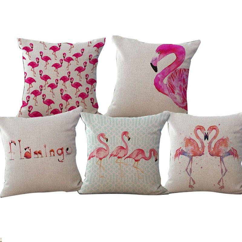 US $1.67 38% OFF|Square Cute Funny Pillow Flamingos cushion household linen pillow cushion coinjin almofadas without fillings 45x45cm|linen pillow|pillow flamingopillow pillow - AliExpress