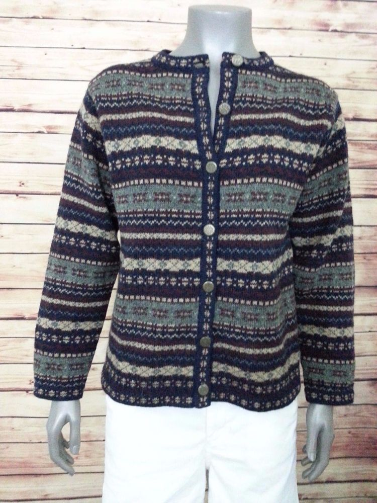 Croft & Barrow fair isle cardigan sweater 100% wool Women's size S