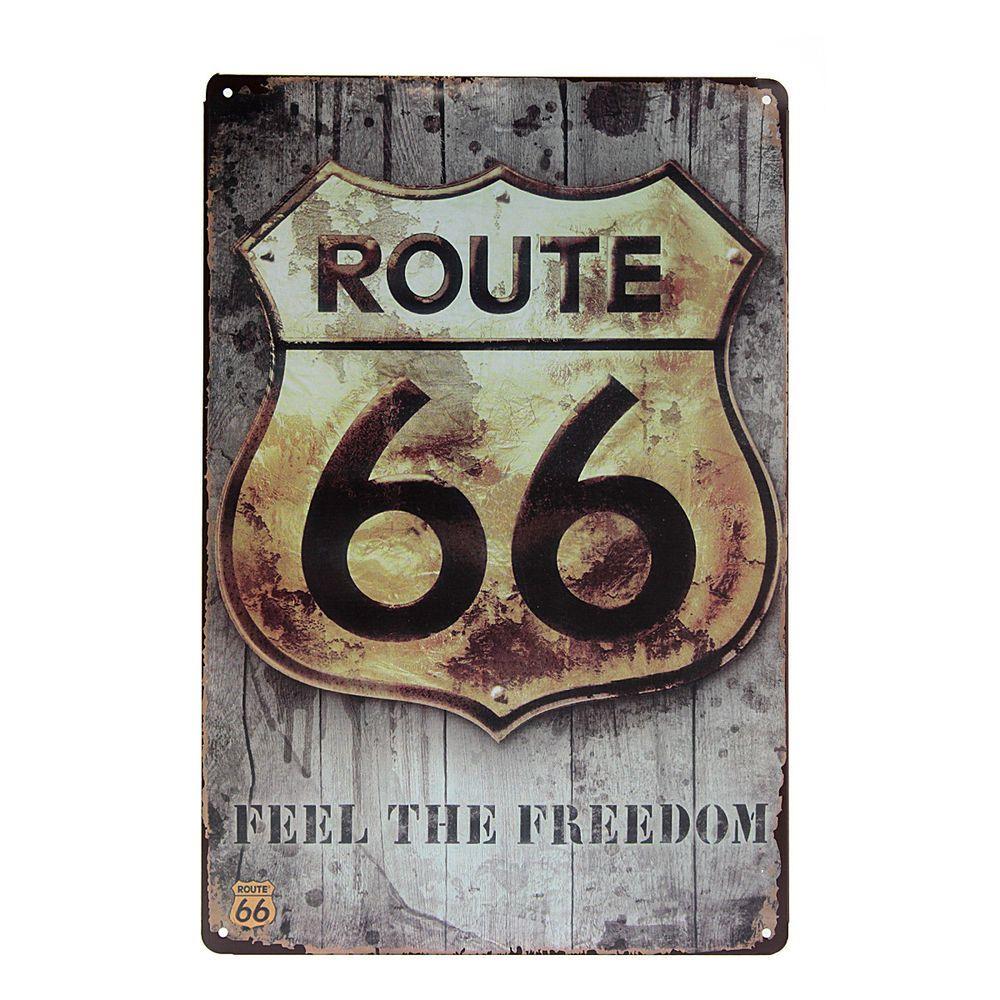 Signe retro m tal plaque publicitaire maill e 66 route d coration maison pub transfert - Plaque publicitaire vintage ...