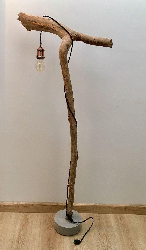 Lampe Bois Flotte Beton Par Treeoflightbelgium Sur Etsy Branch Decor Diy Home Decor Diy Decor