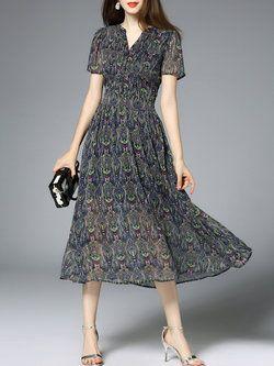 Blue Elegant Swing Abstract Polyester Midi Dress Moda Para Damas c9d91e680f8b