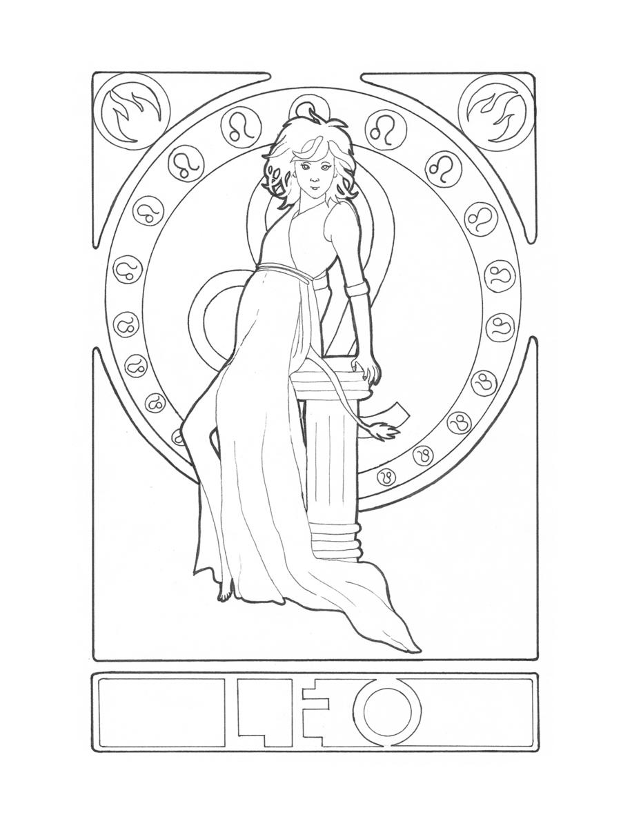 zodiac_leo_by_elinek-d4hfvp2 | Zodiac, Coloring pages