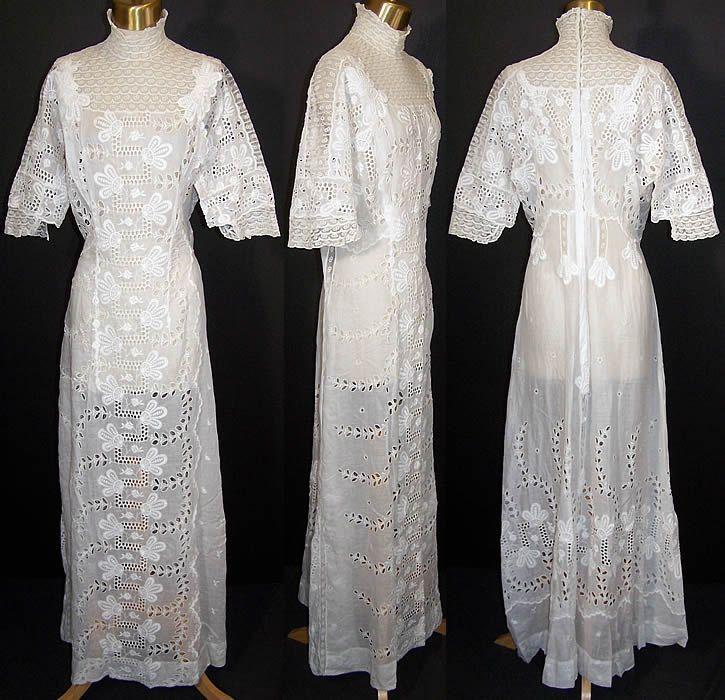 Edwardian White Eyelet Batiste Lawn Lace Wedding Dress Front View