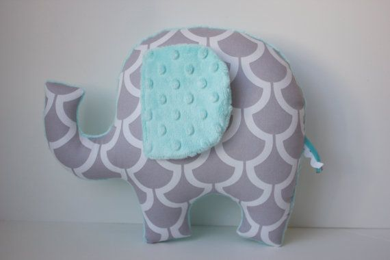 Modern elephant pillow Mint opal seafoam grey gray by LilKingdom