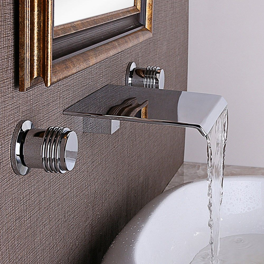 Moda Waterfall Double Handle Wall Mounted Faucet Simple Bathroom