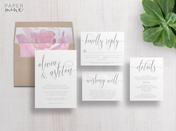 Calligraphy Wedding Invitations | The Olivia Suite by Paper Minx Designs | Grey Calligraphy Wedding Suite