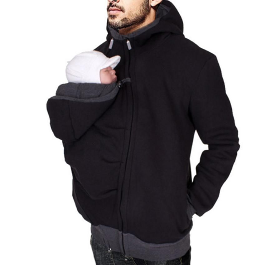 65d2f0f34 3 In 1 Kangaroo Sweatshirt Jacket Men s Dad and Baby Carrier Coat ...