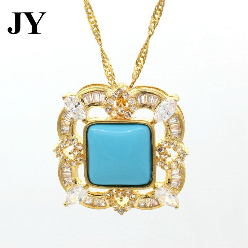 Jy gold color square shape blue stone pendant for women charm jy gold color square shape blue stone pendant for women charm jewelry best party gift elegant aloadofball Image collections