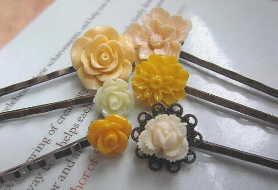 ivory yellow bobby pin collection yellow dahlia  by lemonsugar, $15.99