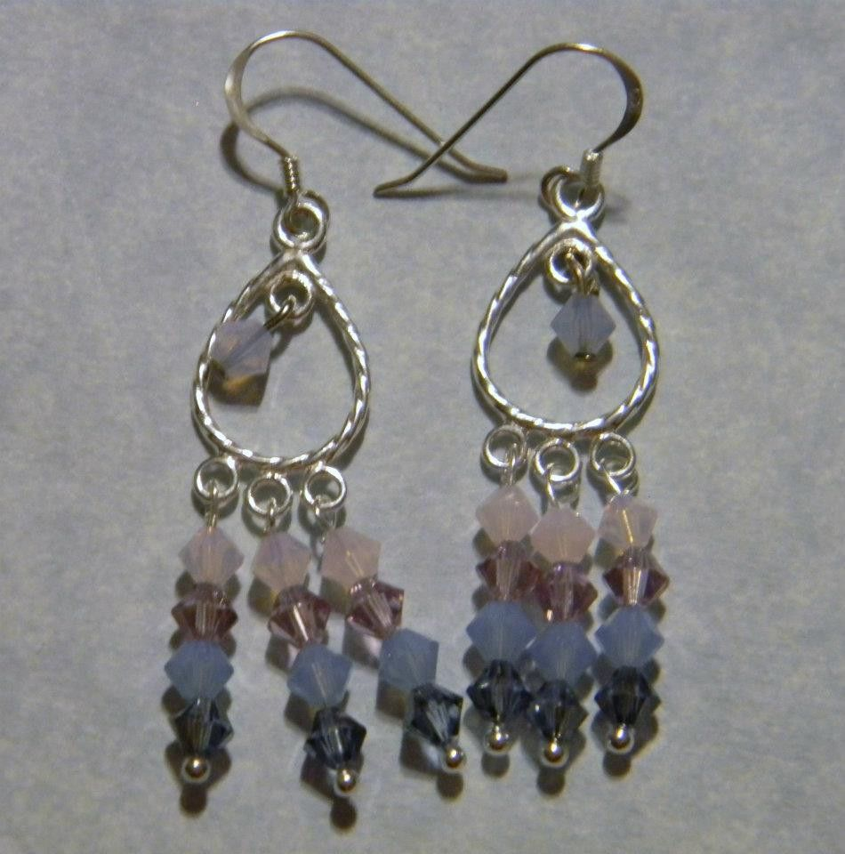 Chandelier Earrings With Crystals On Silver 3 Hole Finding