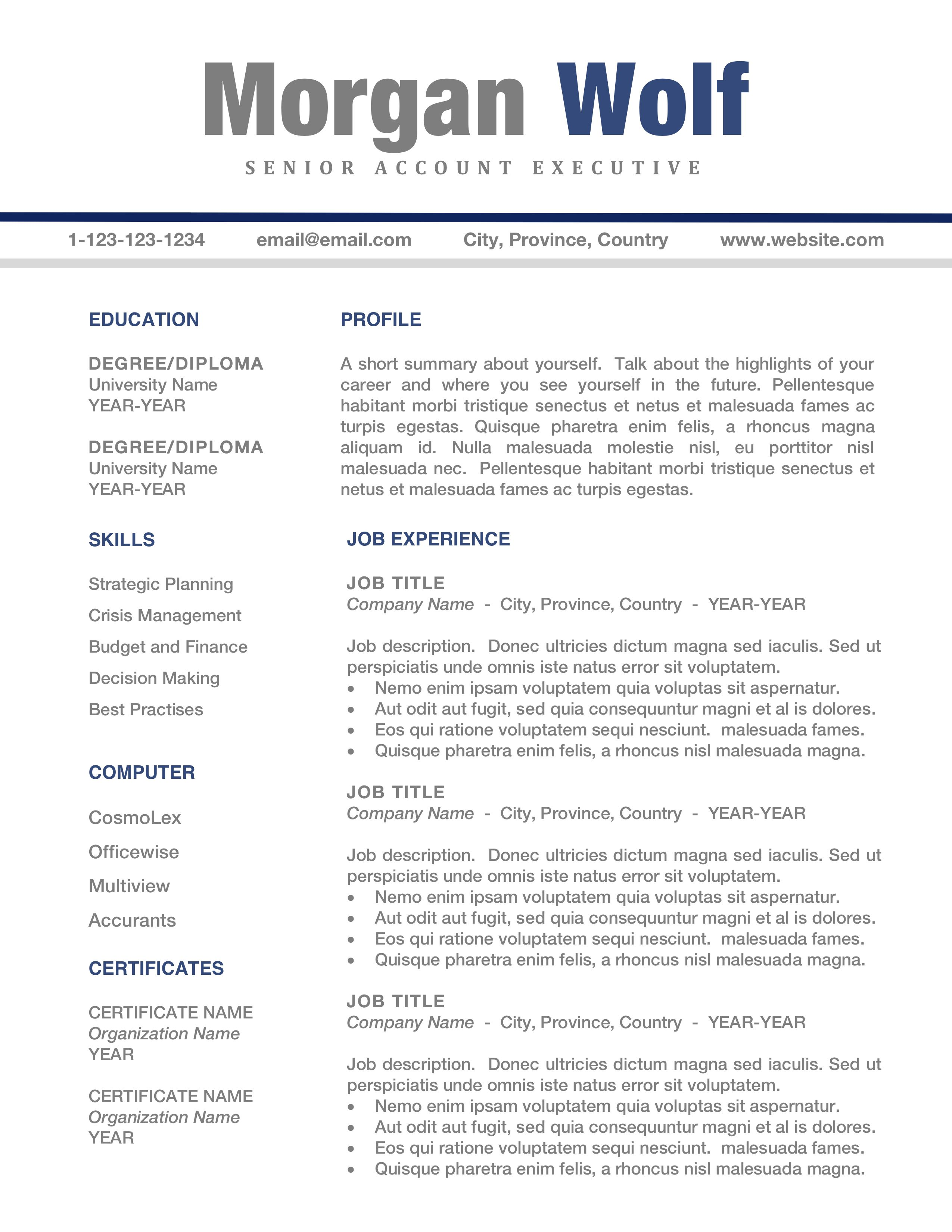 Resume Templates CV Template For Word MAC PC Free Cover