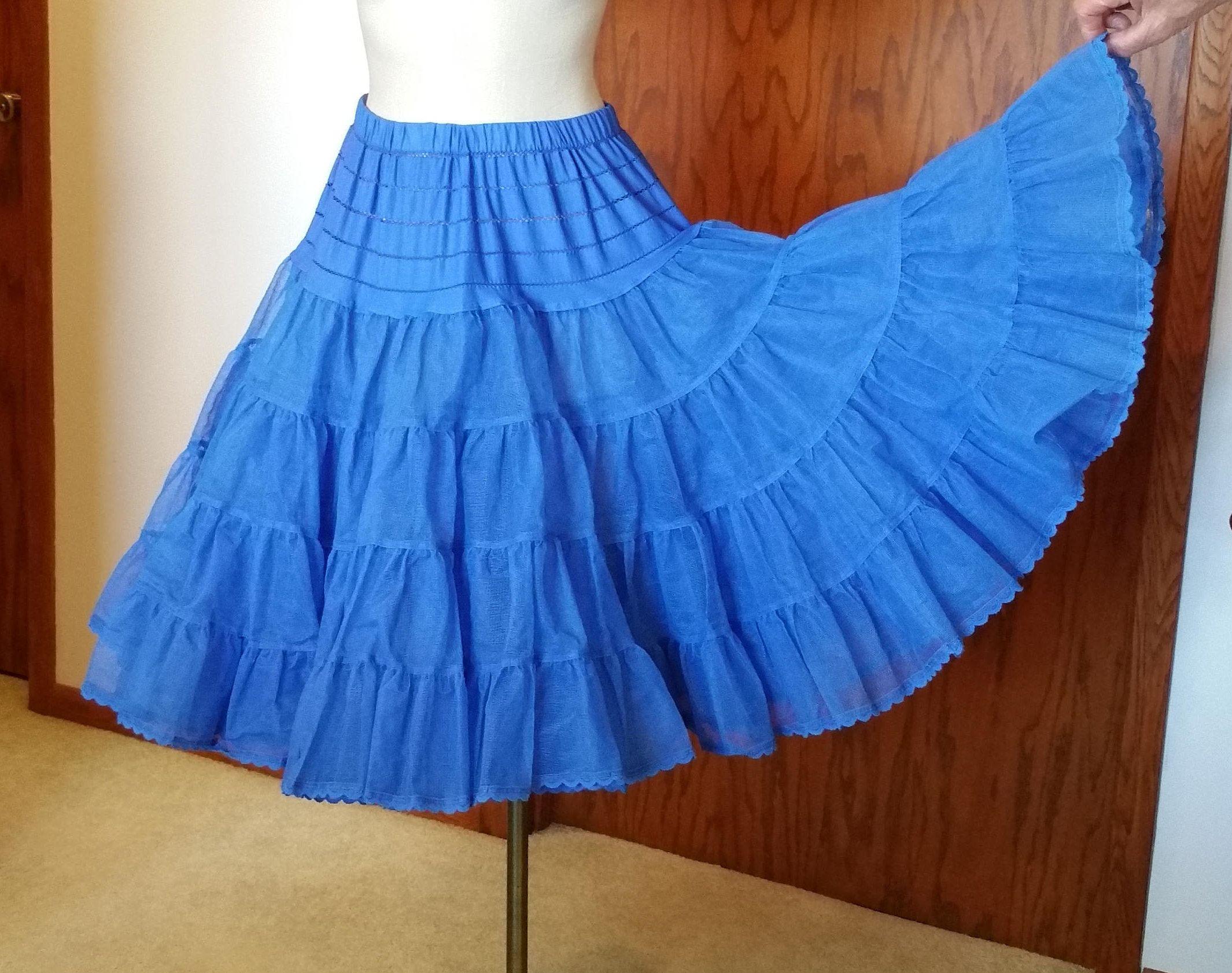 Retro Tutu Rockabilly Vintage Square Dancing Cobalt Crinoline Full Slip with Ribbon Trim Royal Blue Petticoat