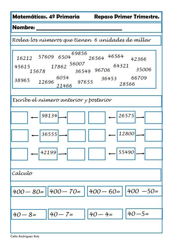 Matemáticas. Fichas para cuarto de primaria | cole | Matemáticas de ...