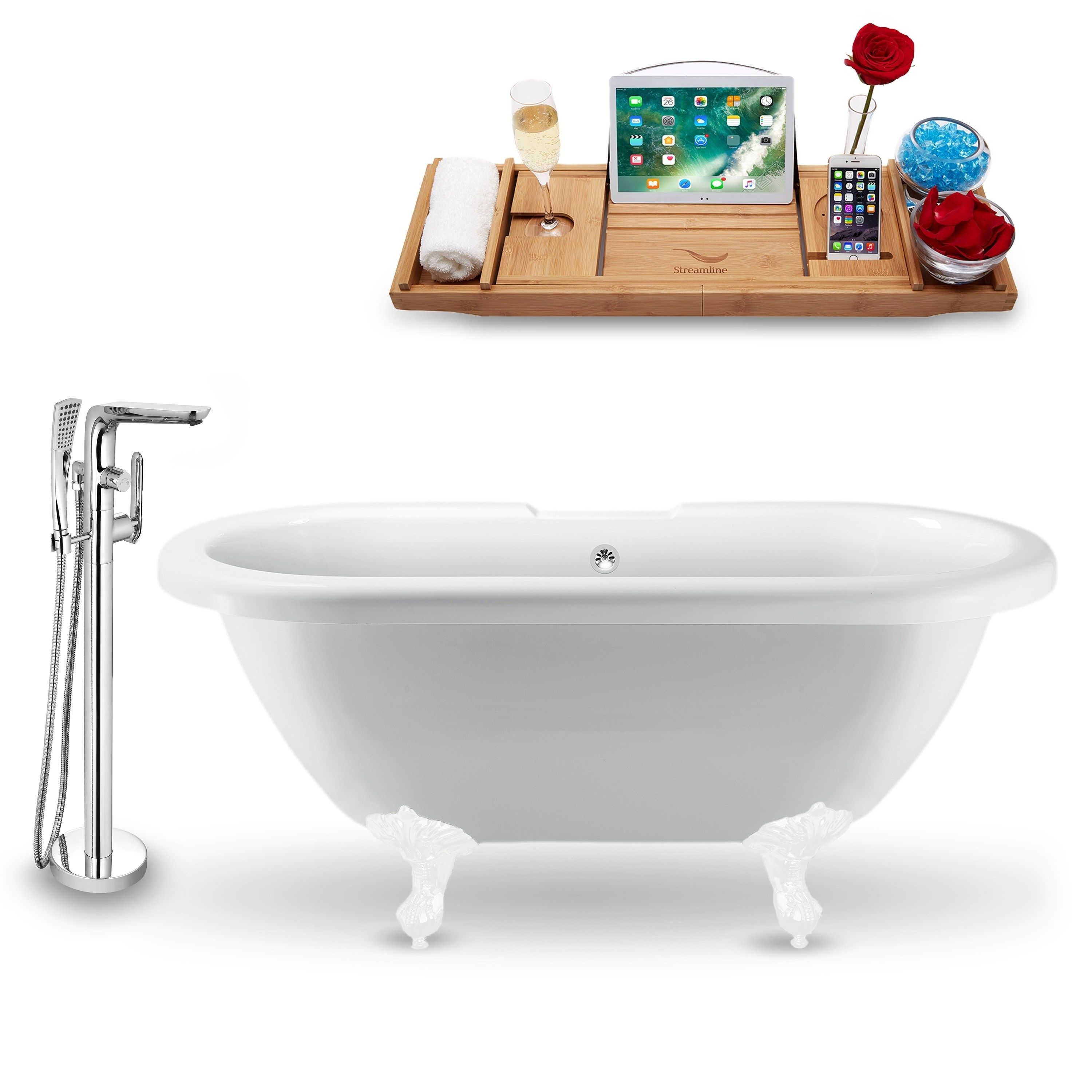 Tub Faucet And Tray Set Streamline 67 Clawfoot White Soaking
