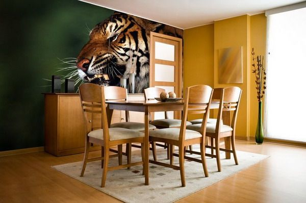 Contemporary Dining Room with Photographic Tiger Wall Murals