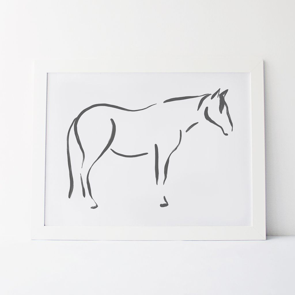 Horse Modern Farmhouse Gray And White Wall Art Print Or Canvas Horse Wall Art Wall Art Prints Art Prints