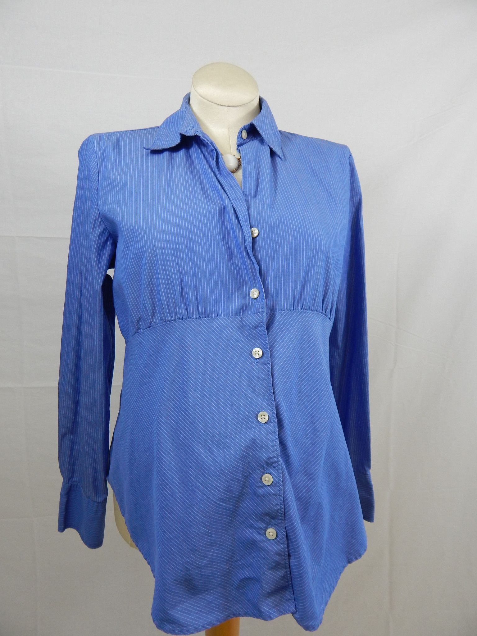 Blue & White Striped Button Up Long Sleeve Blouse-Large