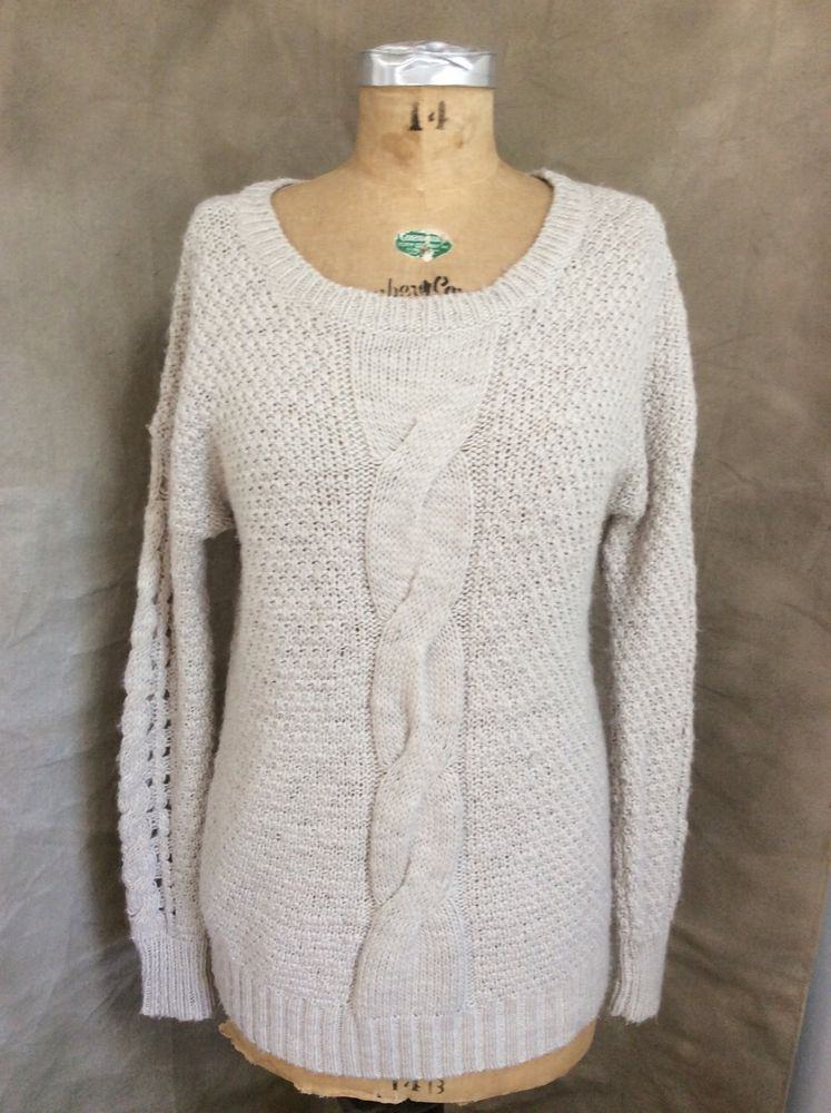 Ecote Urban Outfitters Cable Knit Heather Oatmeal Chunky Wool Sweater M  Medium  66d30a293