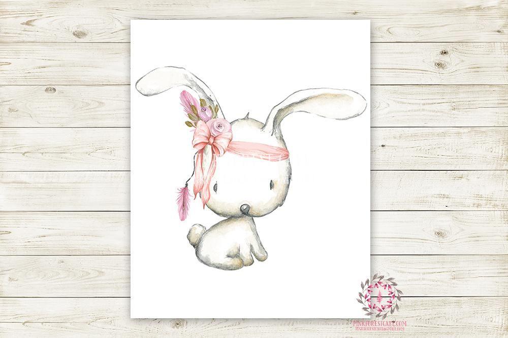 Boho Pink Bunny Rabbit Wall Art Print Woodland Bohemian ...