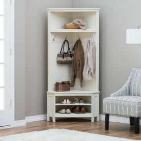 White Entryway Corner Hall Tree Coat Rack Indoor Home Furniture