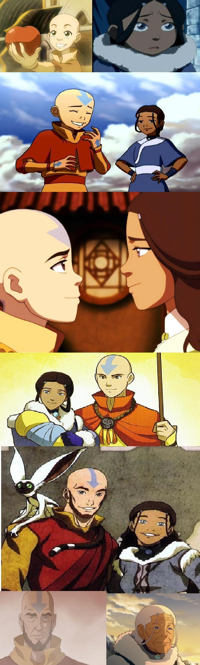 Aang and Katara through the years...OH THE FEELSSSS...