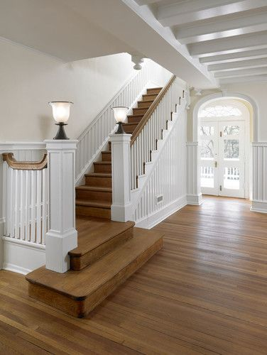 I Like The Square Wider Bottom Stair And The No Wall At The Base Just The Railing The Railing Is A Litt Traditional Staircase Stair Landing Decor Stairways