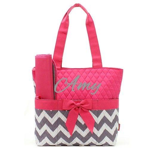 pink and gray chevron diaper bag