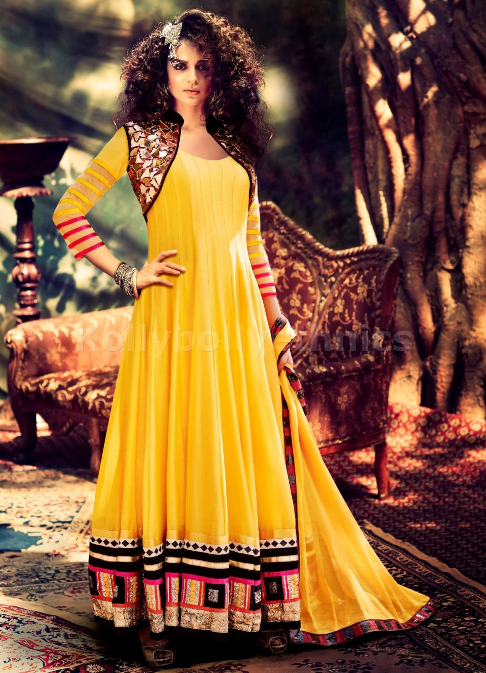 88866baa71 ... Party wear Salwar Suits at lowest price. Buy Designer Yellow Anarkali Suit  With Jacket at KollyBollyEthnics