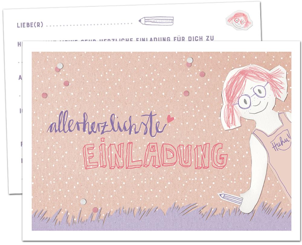 Einladungskarten Für Kindergeburtstag Zum Ausfüllen Rosa Lila Einladungskarten...