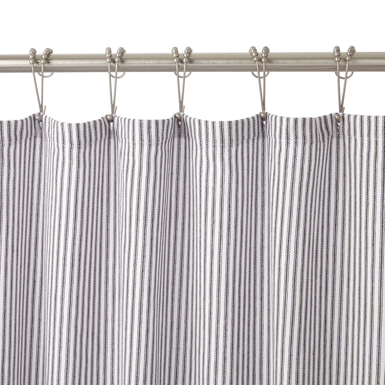 Cotton Shower Curtain White Black Stripe Bathroom Cotton