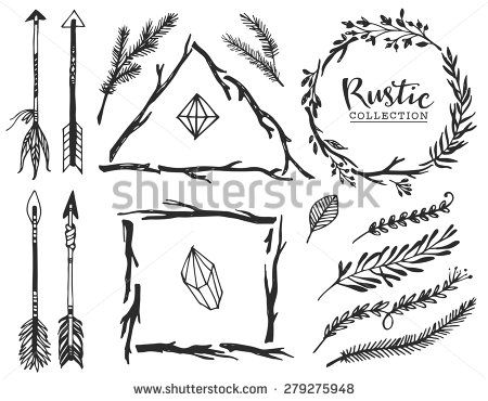 Rustic decorative elements with arrow and lettering. Hand ...