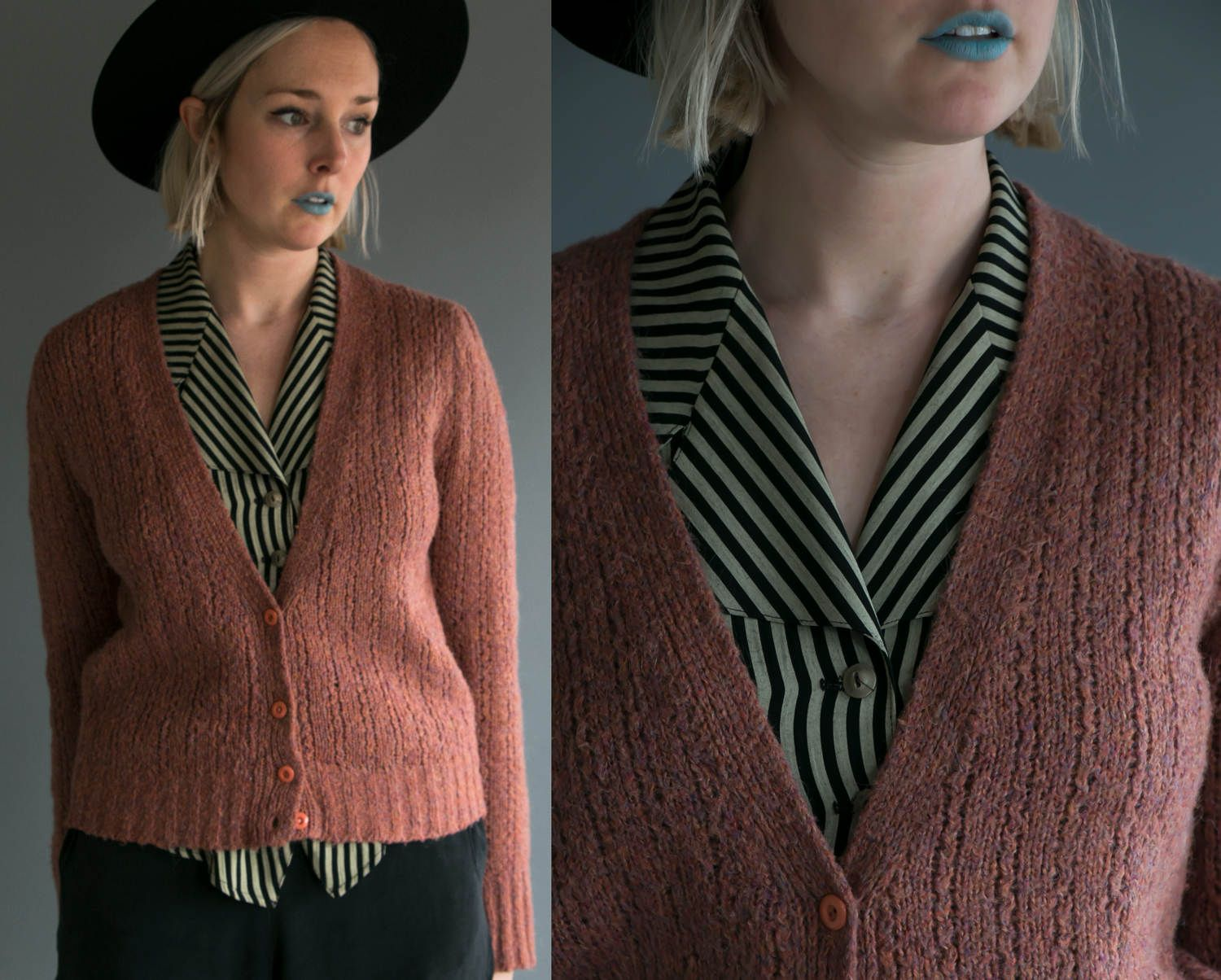 Vintage 70's Tres- Elle Knit Button Up Wool Cardigan Sweater in ...