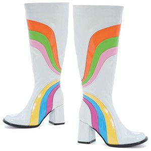 Ellie Colorful Stripe Go Go Boots With Images White Gogo Boots
