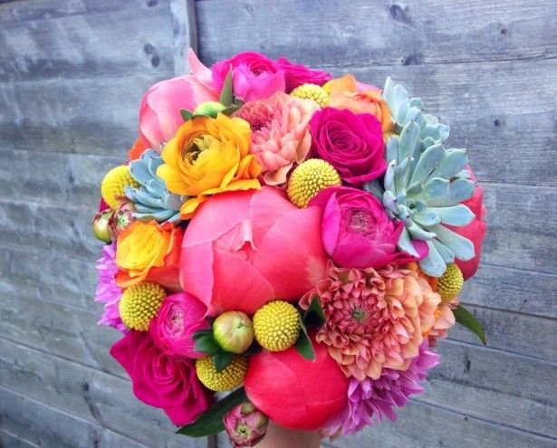 Bright wedding flowers succulents and peonies