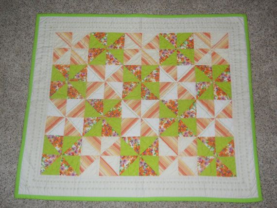 Baby Quilt green and orange pinwheel design. by SewingBoxTreasures, $60.00