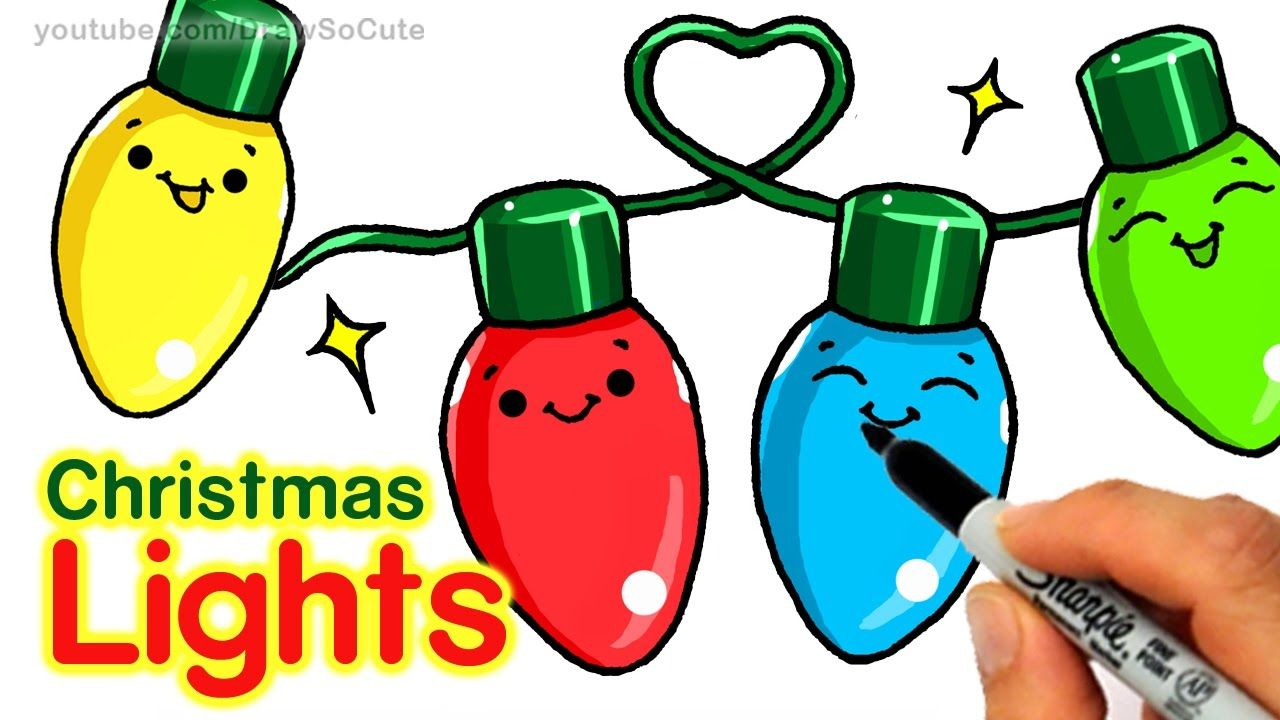 How To Draw Christmas Holiday Lights Step By Step Easy And